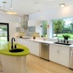 kitchen design with garden views