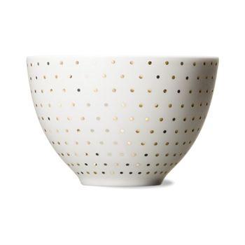 Skal white/gold dot bowl