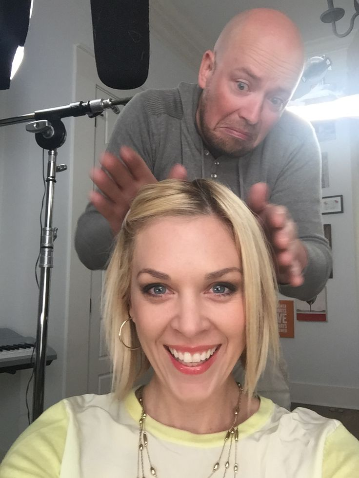 Kortney Wilson getting her hair perfected by Production Manager Ryan.