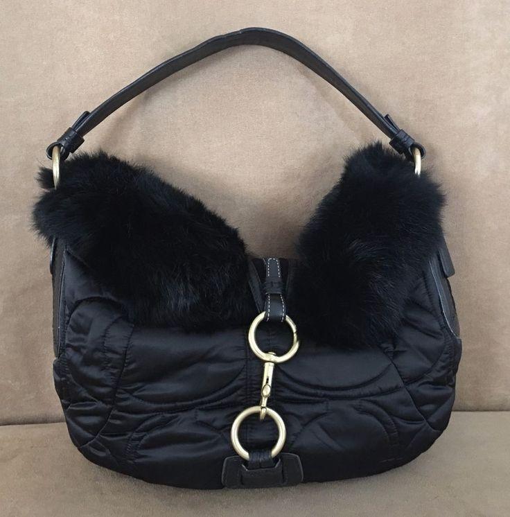 Coach Black Ski Hobo Quilted Sateen Rabbit Fur Handbag 3587 womens purse # Coach #Hobo