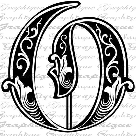 Letter initial o monogram old engraving style type by for Engraving letter templates