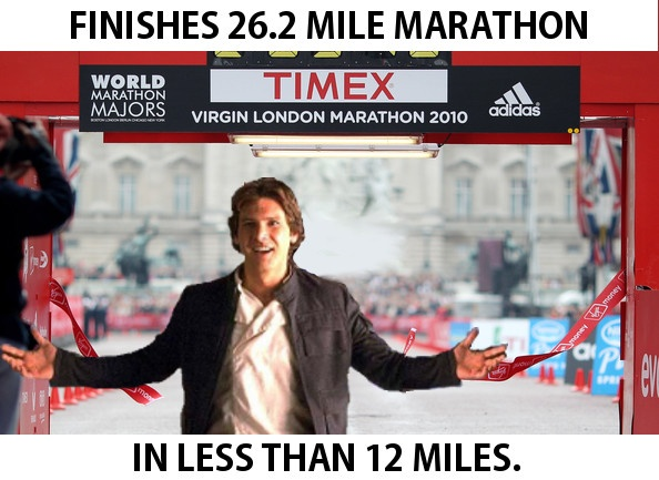 Fast runner? Han Solo ran 26.2 miles. In under 12 miles.