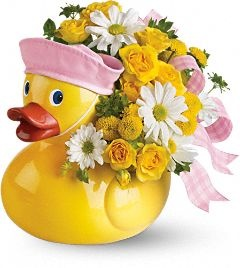8 best new baby bouquets images on pinterest baby bouquet baby telefloras ducky delight girl flowers this adorable arrangement takes to baby showers and baby arrivals like a duck takes to water negle Images