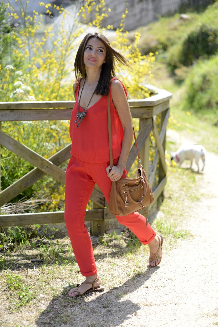 From lovely-pepa.com, coral, red jumpsuit, mango, orange, pop of orange, summer color, tribal inspired, summer outfit