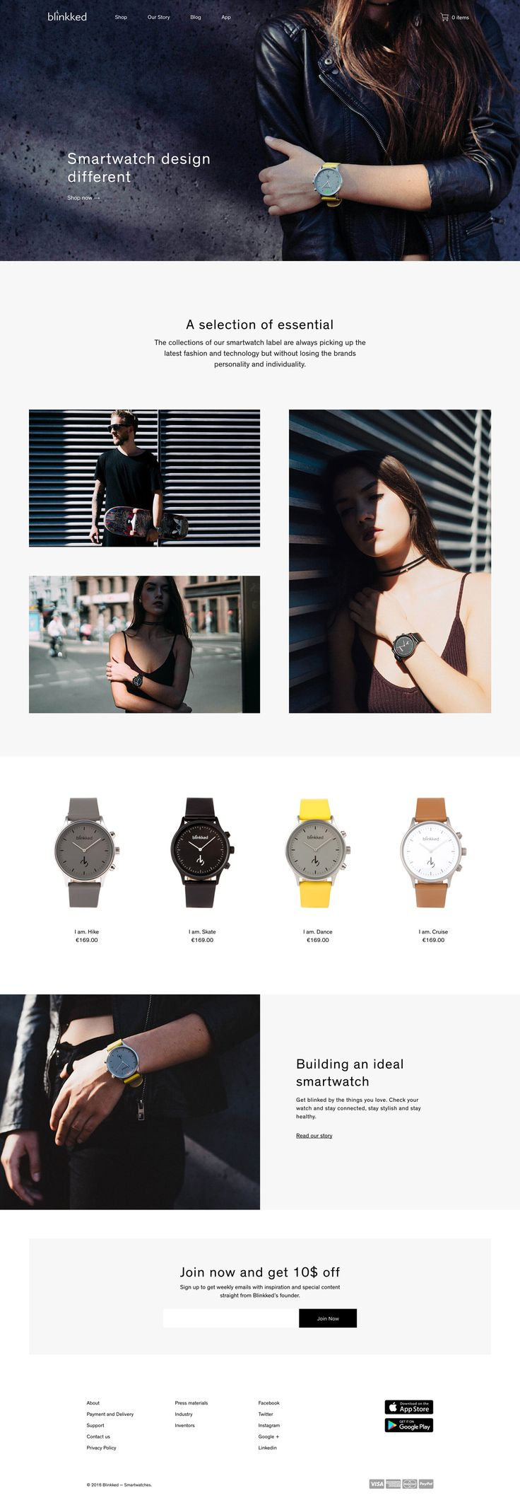Blinkked Smartwatch http://mindsparklemag.com/website/blinkked-smartwatch/ Blinkked Smartwatch is a website awarded as site of the day sotd for its beautiful webdesign and their design watches design by Degordian and seen on Mindsparkle Mag