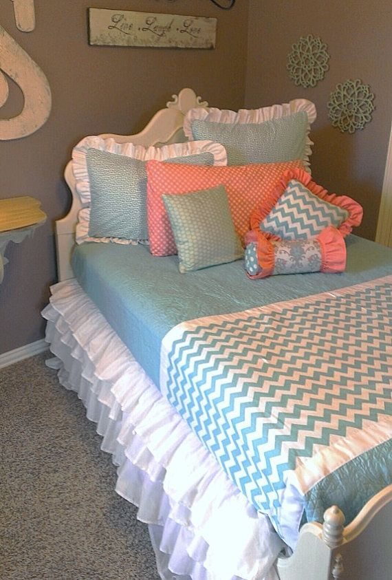 Coral Chevron Custom Bedding by LikeMyMotherDoes on Etsy