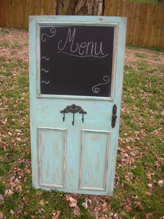 Etsy.com ambianceofapril shop --- love the chalkboard paint on this repurposed door!: Chalkboard Paint Doors, Cabinet Chalkboards, Chalkboard Signs, Decoration, Craft Projects, Outdoor Bar, Wedding Signs, Chalkboard Doors