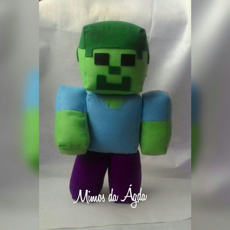 Zumbi de 38 cm em feltro. Minecraft em feltro