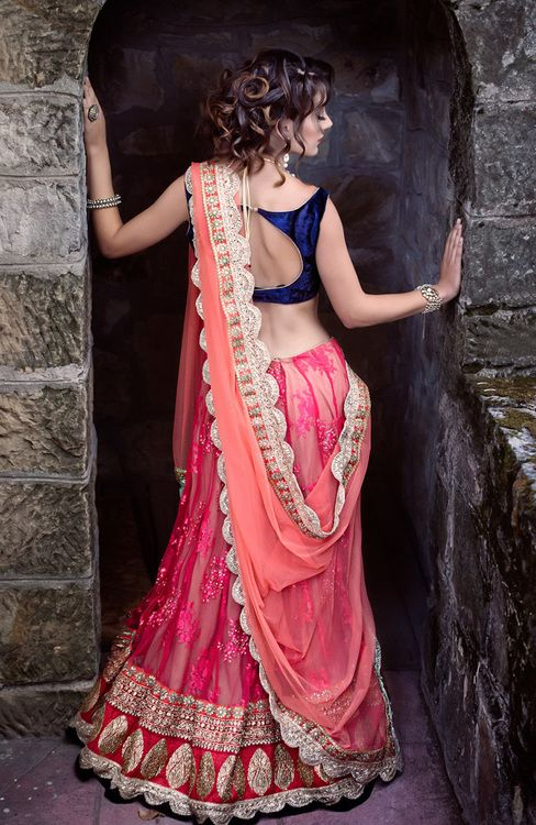 blue open back blouse coral lehenga and odni with gold detailing Sathak: purple and teal