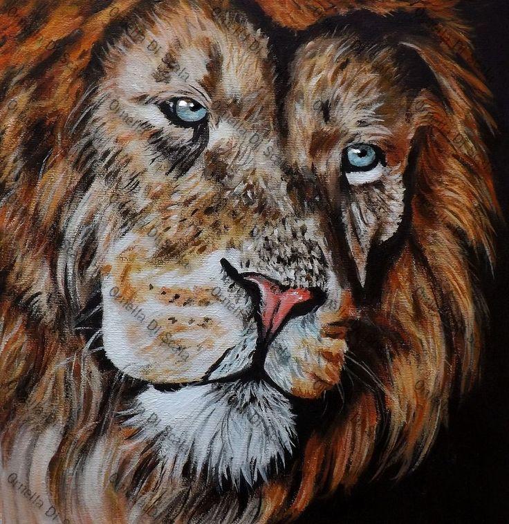 quadro LEONE acrilico moderno felino animale dipinto a mano arredo design lion