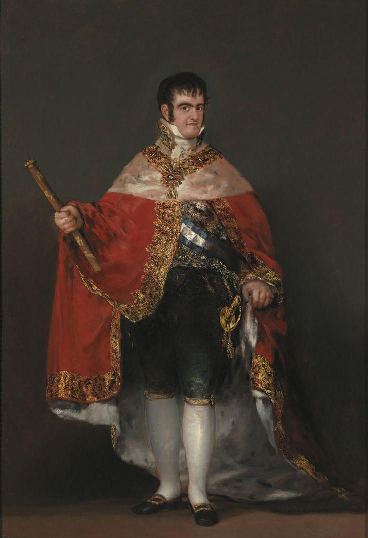 """Francisco de Goya: """"Fernando VII con manto real"""". Oil on canvas, 208 x 142,5 cm, 1814-15. Museo Nacional del Prado, Madrid, Spain"""