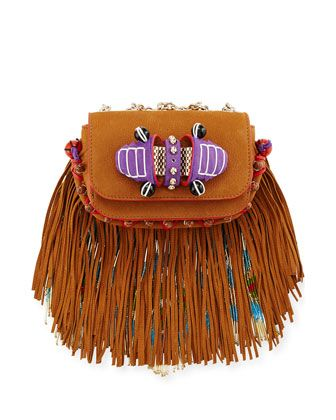 Sweet+Charity+Beaded+Fringe+Crossbody+Bag,+Brown+by+Christian+Louboutin+at+Neiman+Marcus.