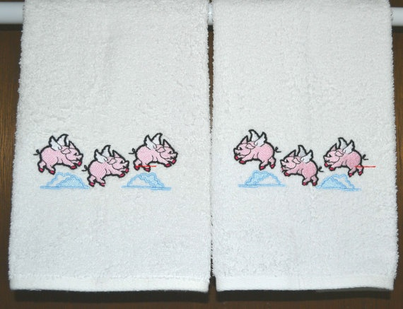 When Pigs Fly Pig 2 Embroidered Hand Towels By By Susanppalmer, $26.00