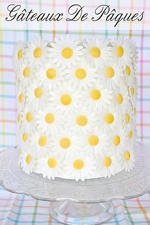 Gâteau marguerites de paques fleurs en sucre azyme (1)
