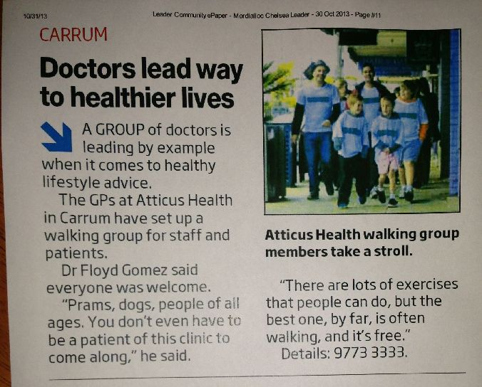 Our walking group... don't forget about it!  And, stop us napping too!  Call the clinic and book yourself in, or just turn up!  11am every Thursday, meet at the clinic - 505a Station Street, Carrum.