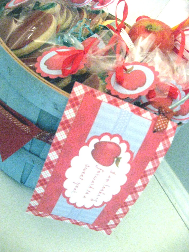 Fall Basket with apples, apple cookie and apple butter!  yum from Sweet Boutique