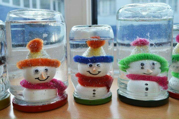 Kardan adam yapalım kavanoza koyalım - Okul öncesi çocuklar için güzel bir etkinlik.