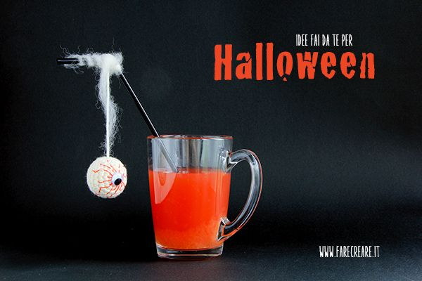 Idee fai da te Halloween occhio della strega da appendere alla cannuccia.