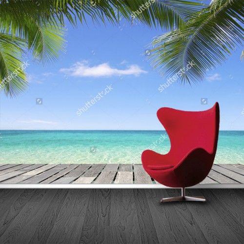 Fotobehang Tropische steiger | Maak het jezelf eenvoudig en bestel fotobehang voorzien van een lijmlaag bij YouPri om zo gemakkelijk jouw woonruimte een nieuwe stijl te geven. Voor het behangen heb je alleen water nodig!   #behang #fotobehang #print #opdruk #afbeelding #diy #behangen #vakantie #tropisch #palmbomen #zee #oceaan #steiger #vakantie