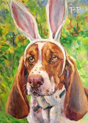 """Daily Paintworks - """"Happy Ishtar"""" by Robin Peterson -- great dog portrait for Easter Sunday!"""