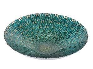 Round Glass Peacock Bowl $15.99 www.allthingspeacock.com - Peacock Dining Room