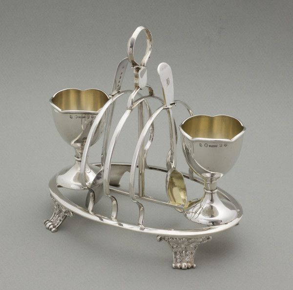 Combined Egg Cup Stand and Toastrack by DANIEL ROBERTSON AND COMPANY, 1857