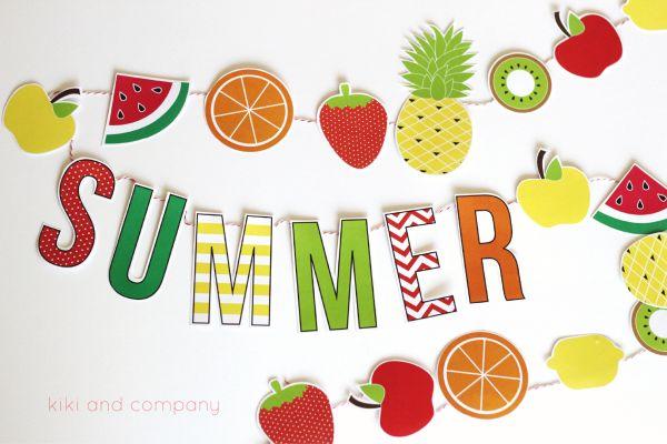 DIY Summer Fruit Garland printable. Cute summer decor!