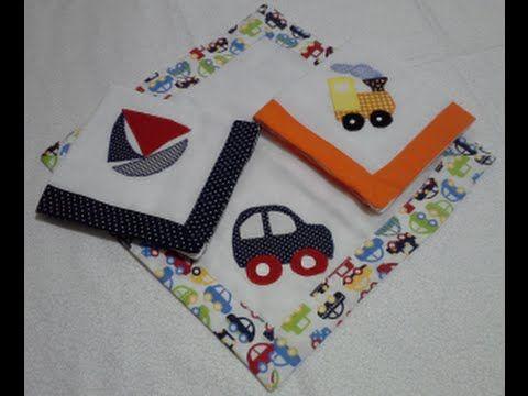 Fraldinha de boca para bebê, com barrado com canto mitrado. Moldes desse e outros trabalhos estão no blog : crisbyartes.wordpress.com