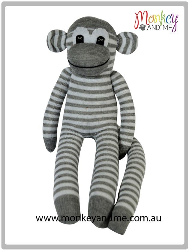 Grey and White Sock Monkey Adopt over at monkeyandme.com.au #sockmonkeys #gifts #toys #monkey