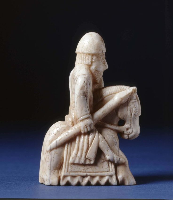Probably made in Trondheim, Norway, about AD 1150-1200, the Lewes Chessmen were discovered in a sand dune at Uig on the Isle of Lewis in the early 1830s. With enough pieces to furnish four chess boards, experts believe they were likely buried by a Viking trader on his way to Ireland.
