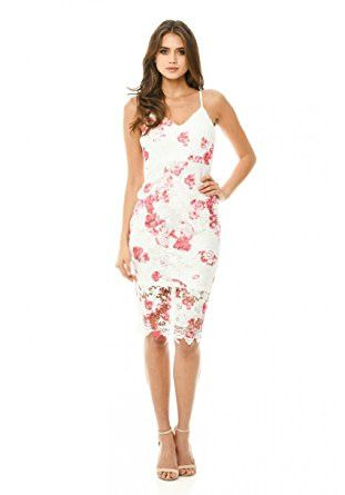 White V-Neck Sexy Strap Floral Print Crochet Midi Dress