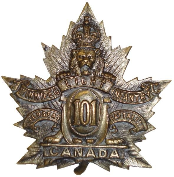 "CEF - Cap Badge - 101st Canadian Infantry Battalion - ""Winnipeg Light Infantry"" - Winnipeg, Manitoba. The badge shows a crowned lion over a maple leaf. WW1."