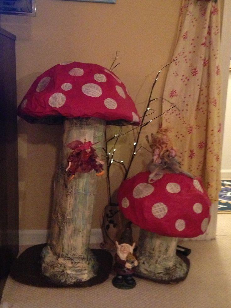 Paper Mache Giant Mushrooms! Inside fairy land!