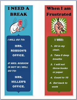 Helping kids stay in control of their behavior.  Break card and reminders for students to use in the classroom.