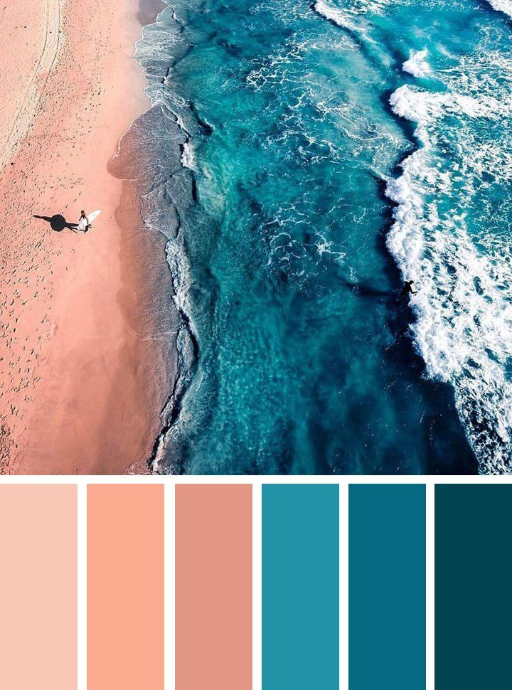 Find color inspiration ideas for your home. Peach and teal color palette , ocean inspired bedroom color