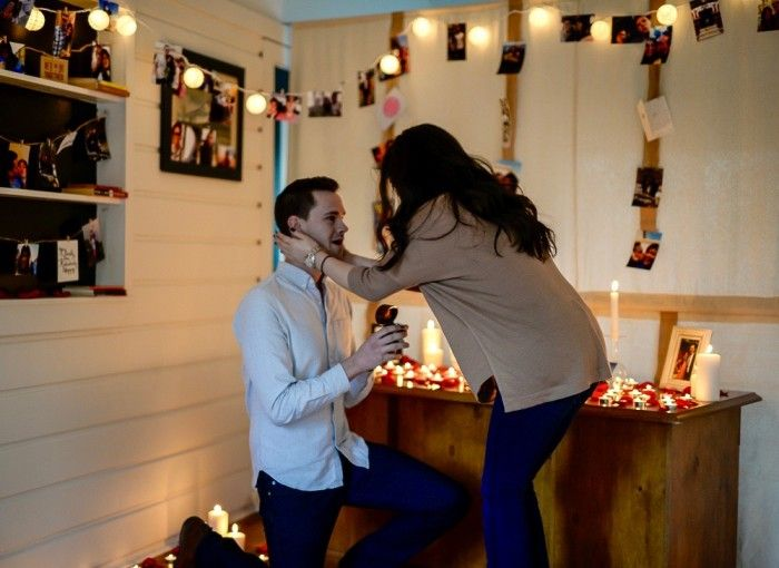 He proposed at home in the cutest way possible!