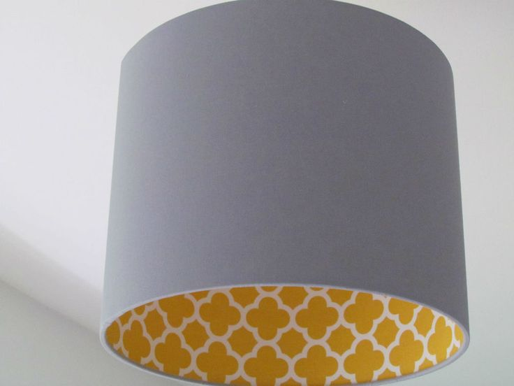 NEW Handmade Light Grey Mustard Quatrefoil Geometric Drum Lampshade Lightshade
