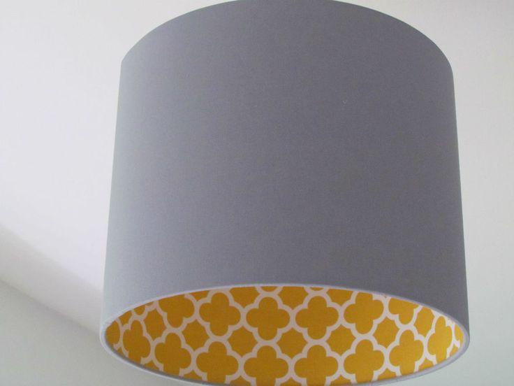 NEW Handmade Light Grey Mustard Quatrefoil Geometric Drum Lampshade Lightshade