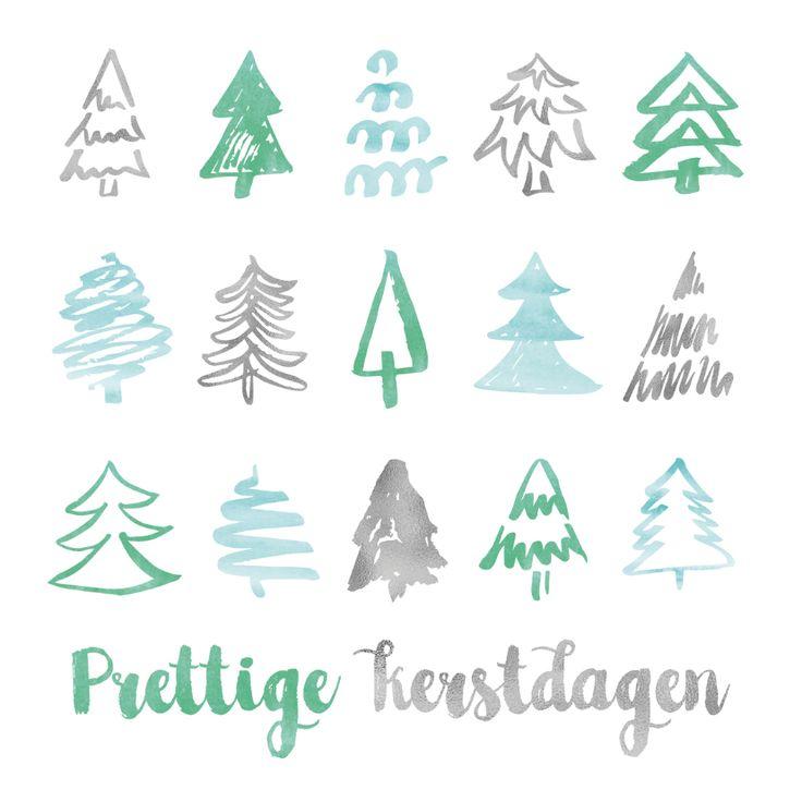 Stijlvolle kerstkaart met hip patroon van kerstbomen. Leuke schets-achtige tekeningen van kerstboompjes in aquarel groen, blauw en grijs. Verkrijgbaar bij #kaartje2go voor €1,89