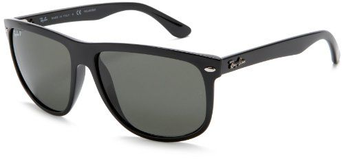 Ray-Ban Men's RB4147 Polarized Square Sunglasses, Black & Crystal Green Polarized, 60 mm