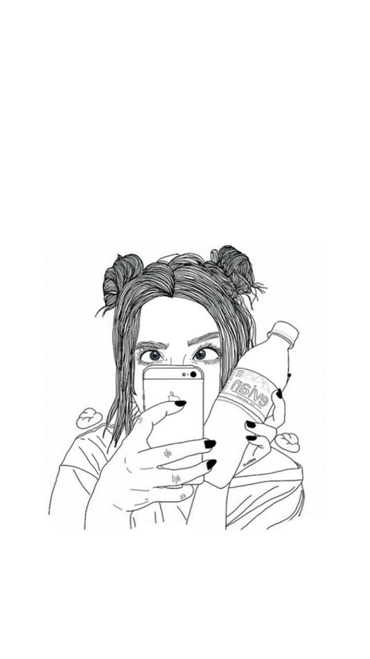 Black And White Drawing Outline Tumblr Girl Best Friend