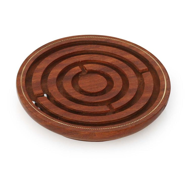 """Wholesale Holiday & Christmas Gifts - Handmade 5"""" Wooden Labyrinth Board Game in Maze Puzzle with 3 Balls"""