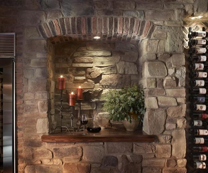 Stone And Brick Dining Room Accent Wall With Wine Rack Wood Shelf For Display