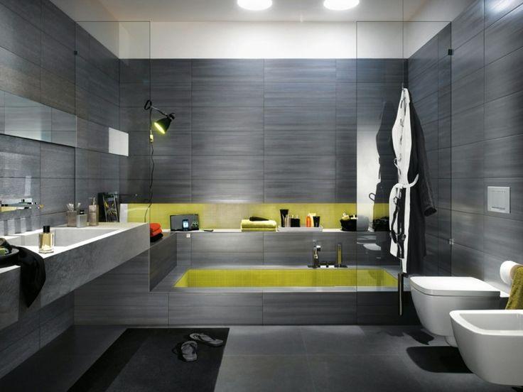 idée de salle de bain de design moderne en gris
