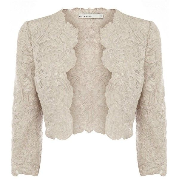 Karen Millen Lace Embroidery Jacket ($250) found on Polyvore featuring outerwear, jackets, tops, bolero, cardigans, neutral, embroidered jackets, short lace jacket, karen millen jacket and lace bolero