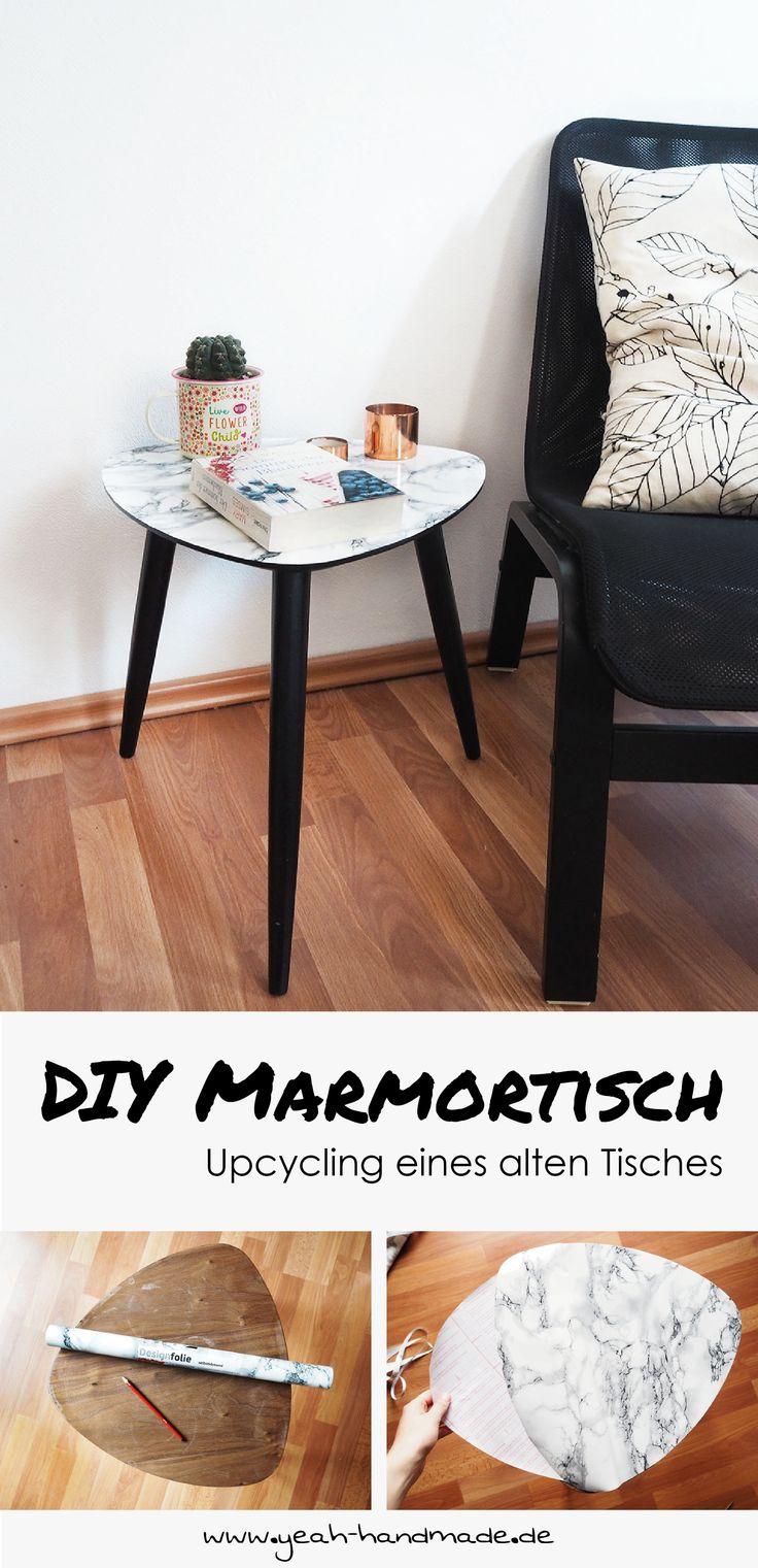 DIY Marmortisch selbermachen: Upcycling eines alten, kleinen Holztisches mit einer selbstklebenden Marmorfolie für ein schönes Zuhause. Anleitung auf Yeah Handmade