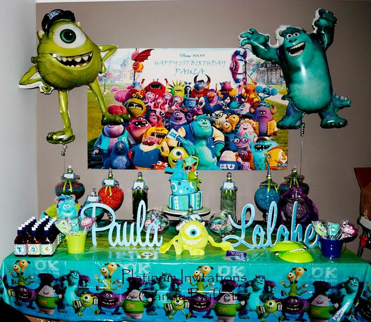 "1st Birthday ""Monsters Inc"" Candy Buffet  All Styling By: Platinum Invitations & Candy Buffets"