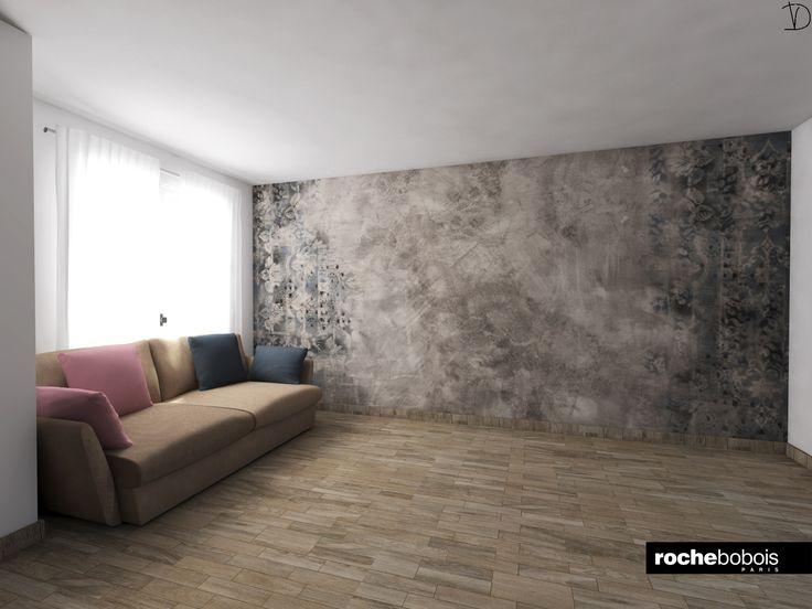 #Simulazione #carta da parati #Brush con #divano #Agiorno by #Rochebobois