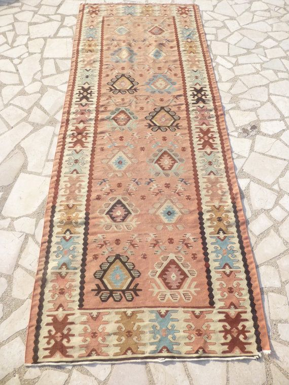 Pastel Kilim Runner Rug Dusty Pink Hand Woven Bulgarian Carpet Rustic Bohemian Home Decor Free
