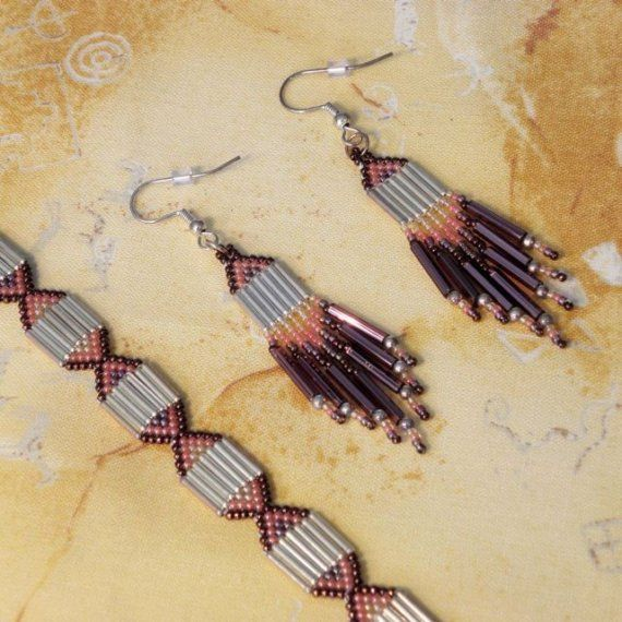 An Earthly but Uniquely Styled Beaded Earrings and Bracelet Set. on Etsy, $24.50